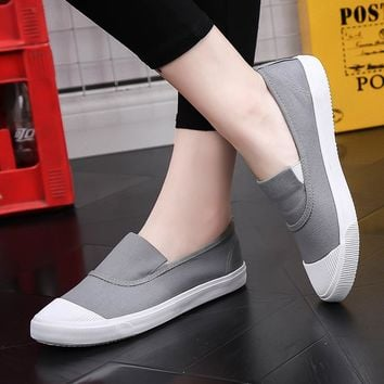 Fashion casual women shoes solid color canvas shoes woman sneakers