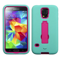 MYBAT Symbiosis Protector Case for Samsung Galaxy S5 - Mint Blue/Pink