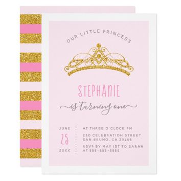 Gold Glitter & Blush Pink Princess Birthday Party Card