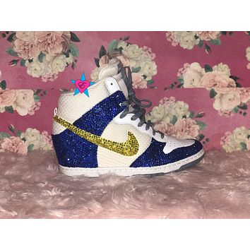 MAIL IN- Blue and Yellow Crystal Nike Wedges