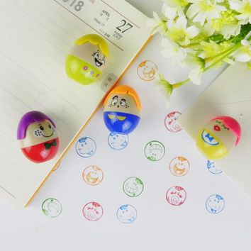 4pcs Ink Stampers Art Craft Stamps Drawing Toy Smiley Face Kid's Learing & Educational Toys for Children