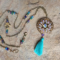 Rainbow Crystal and Gold>> Dreamcatcher Necklace>> Long Chain