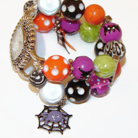 Halloween Spooky Beaded Watch-Interchangeable Beaded Watch-Halloween Bracelet Watch-BeadsnTime-Teacher Watch-Unique Gift-Spider Web Charm
