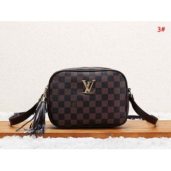 LV Louis Vuitton Women New Fashion Plaid Monogram Print Leather Shopping Leisure Shoulder Bag Handbag 3#