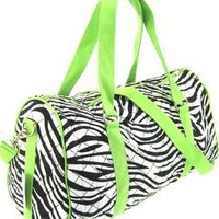 "Large 22"" Quilted Zebra Print Duffle Bag - Green (Green)"
