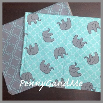 Shop personalized baby gift set on wanelo personalized elephant burp cloths elephant baby shower gift gender neutral burp cloths turquoise negle Images