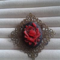 Closing sale - Red rose  cameo   bronze hollow filigree  brooch  pin - gothic, lolita