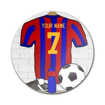 """Red and Blue Football Soccer Jersey 5"""" Round Magnet - Round Custom Magnets"""