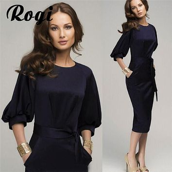 Rogi Autumn Women Office Work Casual Chiffon Dress Bandage Bodycon Womens Elegant Formal Party Pencil Dresses Vestidos Plus size