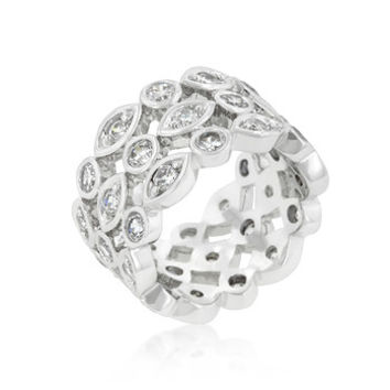 Triple Row Clear Cubic Zirconia Eternity Band