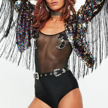 Missguided - Black Sequin Fringe Festival Jacket