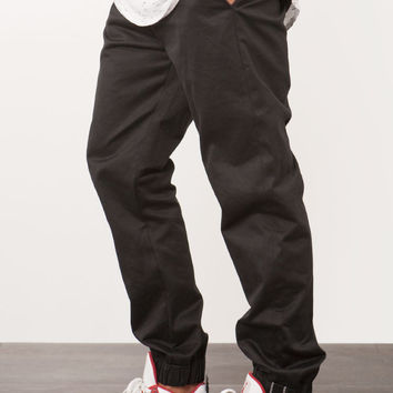Black Selvedge Twill Chino Jogger Pants