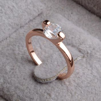 PATICO Brand Wedding Band Rings For Women Classic Simple Style Rose Gold Color Austrian Crystal Engagement Finger Ring Jewelery
