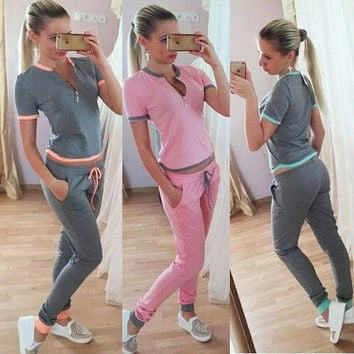 Autumn Women's Fashion Sexy Deep V Short Sleeve Pants Sportswear Set [6572643335]