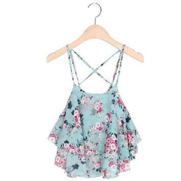 Women Camis Cropped Ladies Spaghetti Strap Flower Floral Blouse Crop Tank Top
