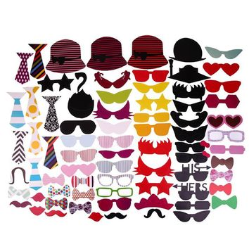 76pcs Glasses and Mustache Type Photo Prop Decal for Party Birthday Wedding Christmas Creative Funny Party Supplies