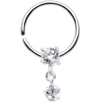 """18 Gauge 3/8"""" 925 Silver Clear CZ Daith Tragus Dangle Earring 