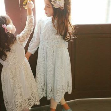 2017 Full Lace Girls Dress For Princess Sweet Girl Lace Bell Sleeves Spring Dresses Boutique Costume Cream Blue Free Shipping