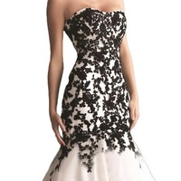 IBEAUTY DRESS Lace Beading Strapless Empire Trailing Evening Dress