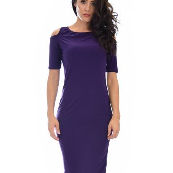 Lyss Loo Love Me Completely Cold Shoulder Purple Bodycon Midi Dress