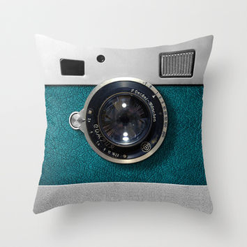 Classic retro Blue Teal silver Leather Germany vintage camera Throw Pillow case by Three Second
