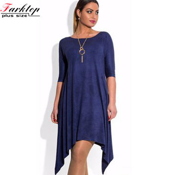 high quality solid 2016 new autumn navy blue plus size women irregular dress high waist knee length casual loose party dress 5xl
