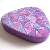 Purple hand decorated wooden jewelry box with mosaic in pink, purple and blue tones
