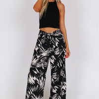 Printed Tie Trousers Black