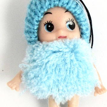 "Child Adorable Ornament Turquoise Puff Ball Dress and Hat says Love  3"" x 2"""