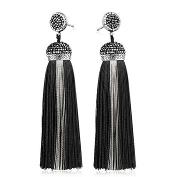 LAKONE Bohemia Crystal Silk Tassel Earrings Handmade High Quality Black Long Drop tassel Dangle Earrings Women Trendy Jewelery
