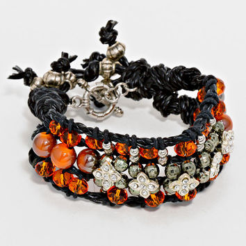 Crystal Accented Glass Bead Bracelet