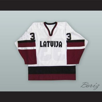Sergei Zholtok 16 Latvia National Team White Hockey Jersey