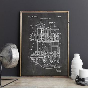 Internal Combustion Engine Patent Poster, Car Part Art, Engine Art, Henry Ford, Classic Car, Car Blueprint, Mechanic Gift, INSTANT DOWNLOAD