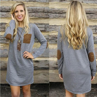 Women's Loose O-Neck Long Sleeve Elegant Casual Sexy Casual Sweet Mini Shirt Dress
