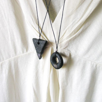 Black Geometric Pendant Necklace Minimalist Modern Necklace Arrow and Torus Flow of Time and Energy Art Clay Pendant