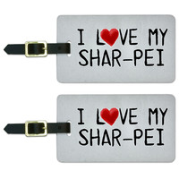 I Love My Shar Pei Written on Paper Luggage Tag Set - No. 2