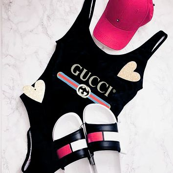 GUCCI Bikini Ladies Vest Style U Collar One Piece Bikini Swimsuit Bathing B-ZDY-AK Black