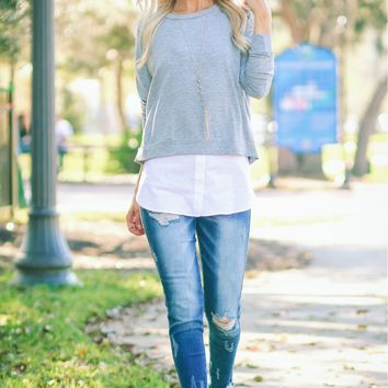 Layered Sweater Top Heather Grey