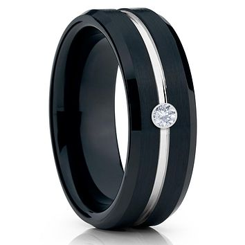 Black Wedding Band - Tungsten Ring - Men's Wedding Band - White Diamond