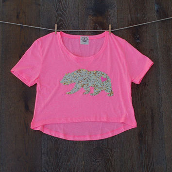 Cropped California Bear T Shirt - Sequin Patch California Republic Boho Festival Style Tee in Bright Pink