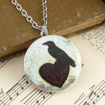 Heart Raven Vintage Antique Silver Art Locket by QuaintandCurious