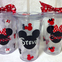 Minnie Mouse or Mickey Mouse Personalized Custom Acrylic Tumbler