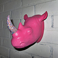 Pink Rhino Decor Faux Taxidermy Wall Decor Figurine
