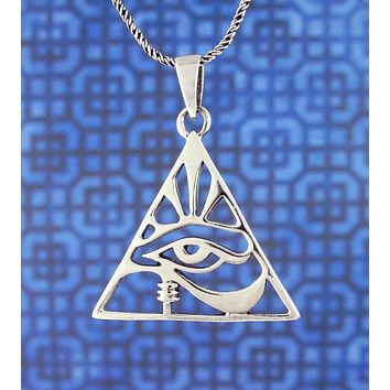 Eye of Horus Necklace in Pyramid-Shaped Frame