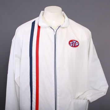 70s STP Logo WINDBREAKER / 1970s Nylon Stripe Racing Men's Jacket L