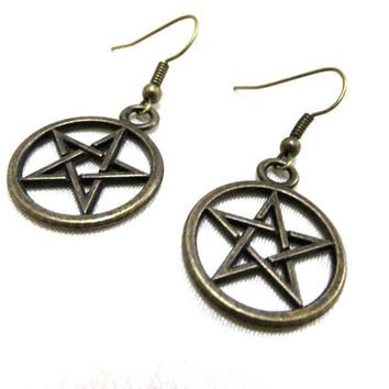 Bronze Pentagram Earrings, Pentacle Earrings, Wiccan Earrings, Boho Earrings, Pagan Earrings,Protection Earrings,Five Elements,Star Earrings