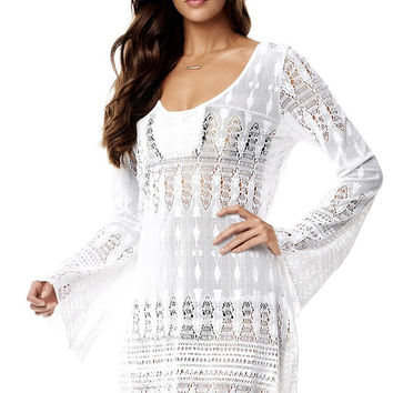 White Lacy Crochet Summer Beach Tunic