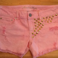 Pink Paradise Jean Shorts. Size 8 with Gold studs.