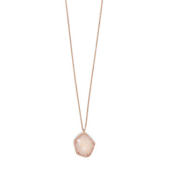 Rose Quartz Pendant on Gold Rose Necklace