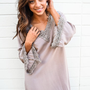 Among The Willow Trees Taupe Dress